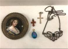 Lot of Silver jewelry and Gold Russian enamel egg
