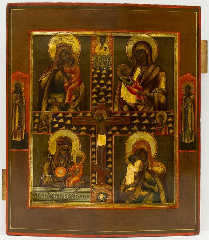 A RUSSIAN ICON OF FOUR-PART MOTHER OF GOD