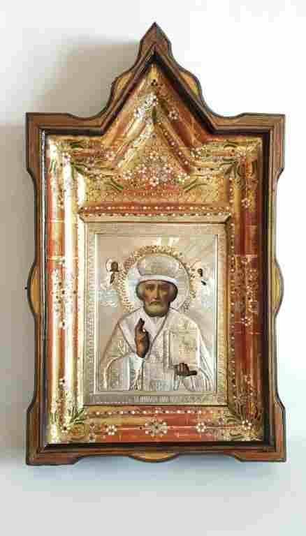 19C Russian Silver Icon St.Nicholas