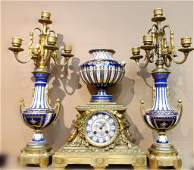 Bronze and Porcelain Clock Set
