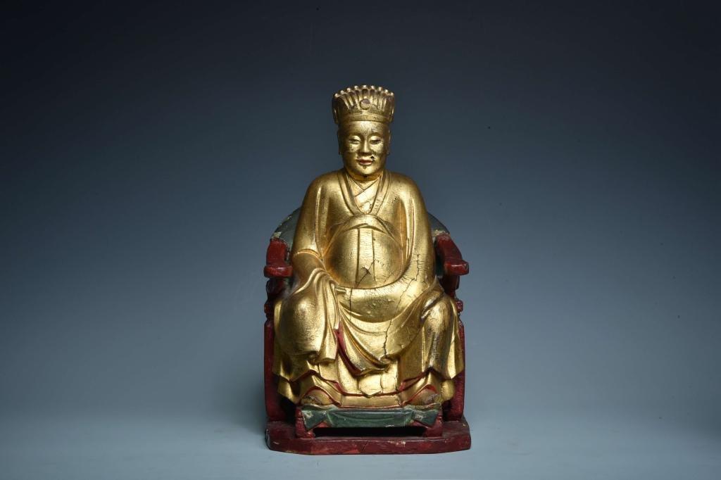 Qing Chinese Gilt Wood God of Medicine