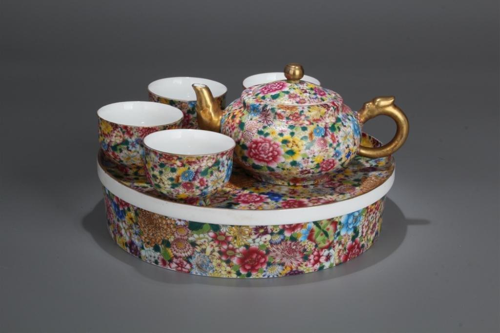 Group of Chinese Enamel Porcelain Teapot Set