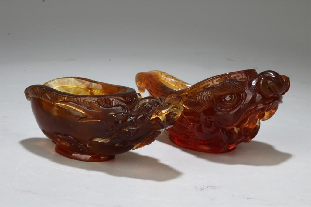 Two Chinese Amber Cups