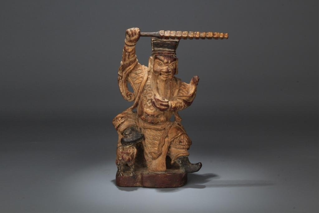 Qing Chinese Gilt Wood Carved God of Wealth Mammon