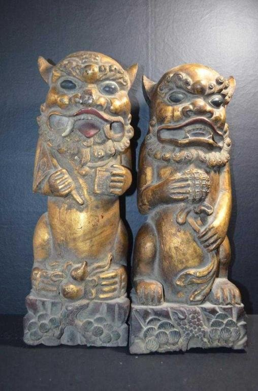 Pair Of 19th C. Chinese Carved Gilt Wood Foodog