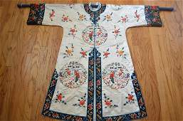 Chinese Embroidered Woman w/ Swords Silk Jacket