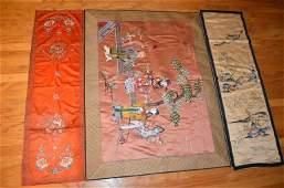Three Chinese Silk Embroidered Panel Metallic Thre