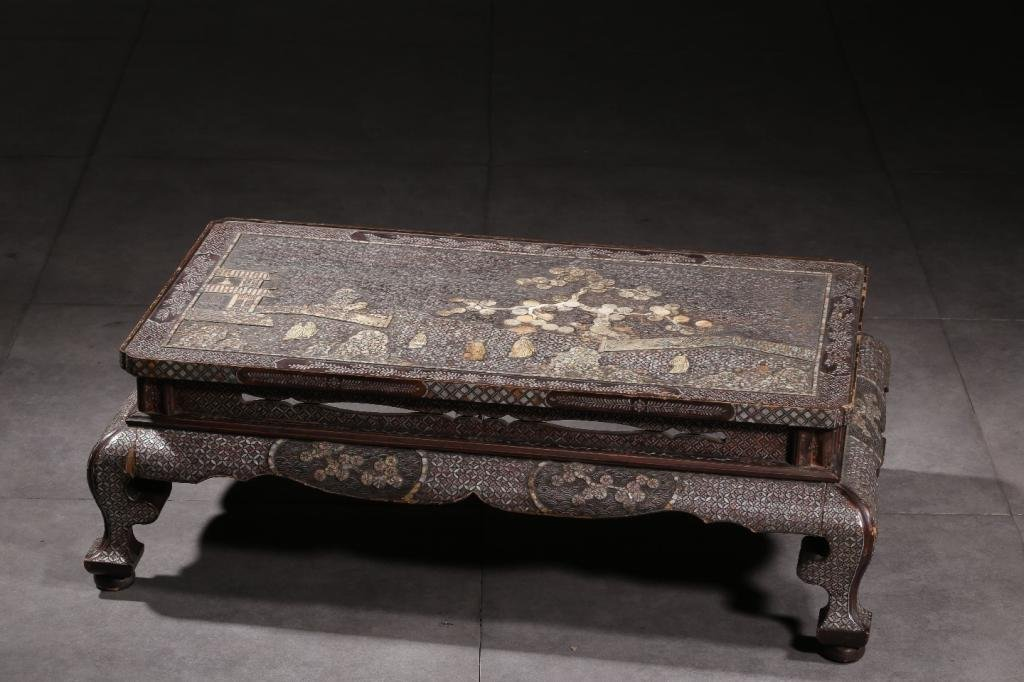 Qing Chinese Lacquer Wood Table w Mother Pearl inl