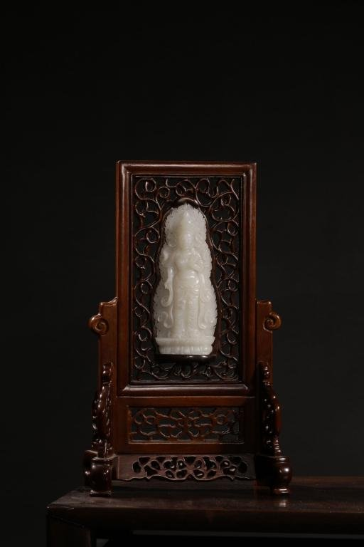 Chinese Wood Table Screen w Hetian Jade