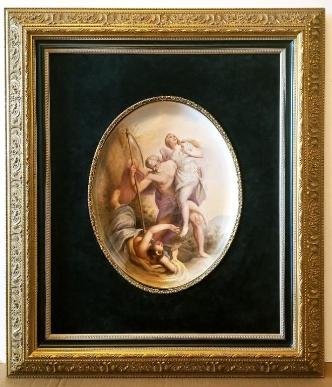 Lrg 19C Royal Vienna H/P Porcelain Plaque