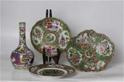Group 19thC Chinese Rose Medallion Porcelain Plat