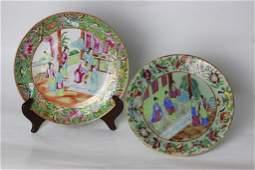 Two 19thC Chinese Rose Medallion Porcelain Plates