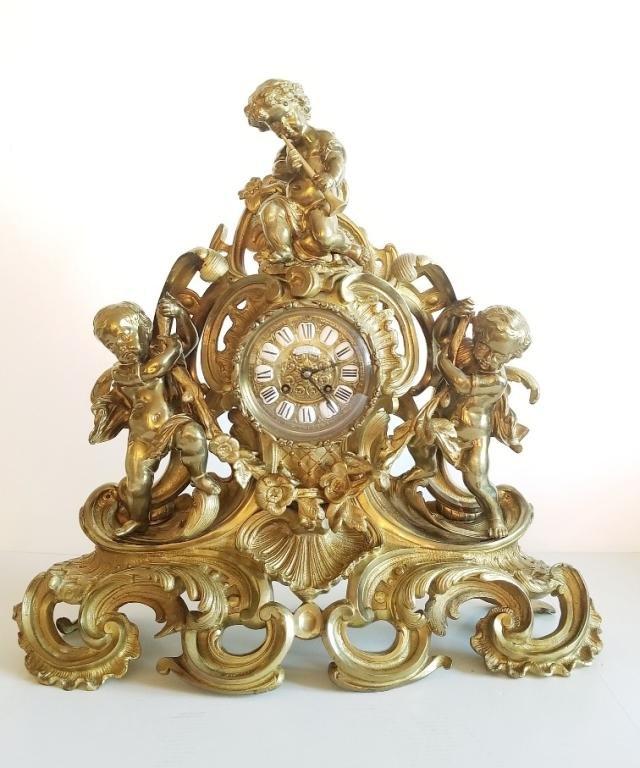 Large 19C Napoleon III Gilt Bronze Clock