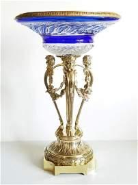 19C Russian Gilt Bronze Cobalt Glass Centerpiece