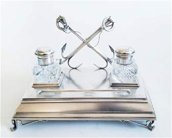 Lrg 19C Russian Silver Crystal Inkwell Stand_x000D_