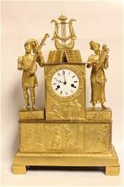Empire Double Figural Doral Bronze Clock