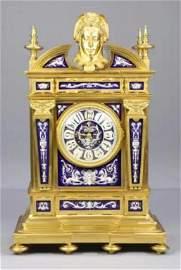 Lrg 19C French Gilt Bronze Enamel Clock