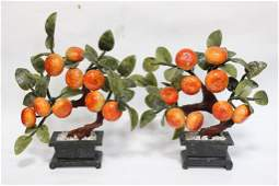 Pair of Chinese Jade Peach Planter