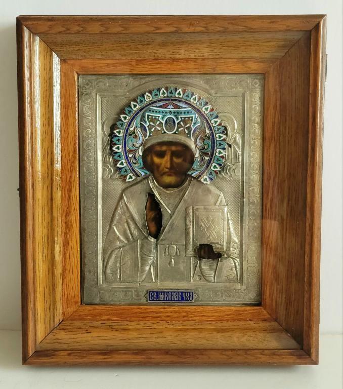 Antique Russian Silver Enamel Icon St.Nicholas