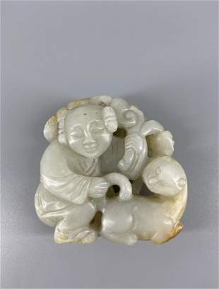 Chinese Jade Carved Two Figurals