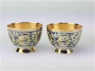 Russian Soviet Silver Niello Cups Goblet