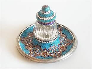 19C Russian Gilt Silver Enamel Crystal Inkwell