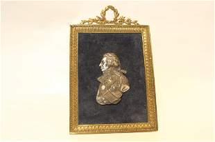 Silver Portrait of Nelson in Bronze Frame