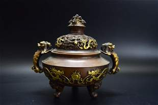 Chinese Bronze Cover Incense Burner