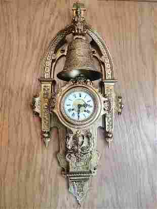 Early 20th, French Bronze Hanging Wall Clock