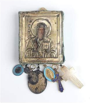 Antique Russian Silver Icon Cross Pendant