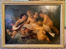 large Allegory figural putty cherubs Oil on Canvas