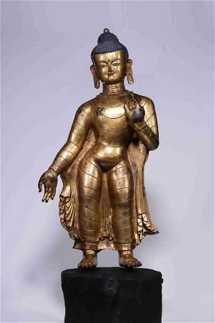 Early Qing Chinese Gilt Bronze Standing Buddha