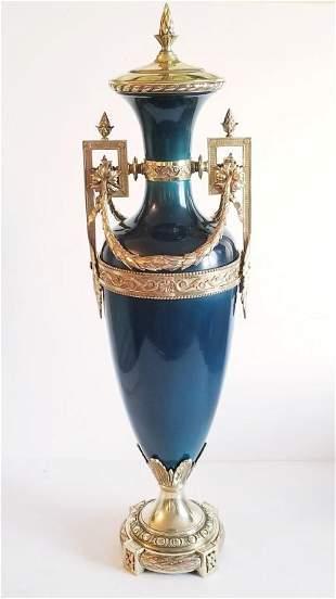 Large 19C Sevres Style Porcelain Gilt Bronze Vase