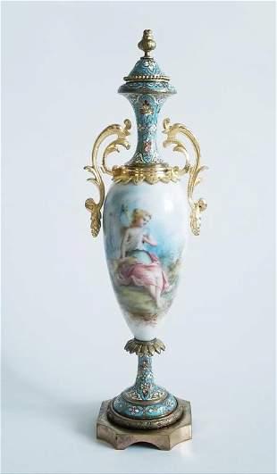 19C French Sevres Porcelain Enamel Vase