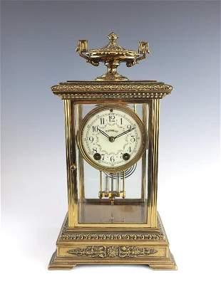 Antique Bronze Crystal Regulator Clock Tiffany