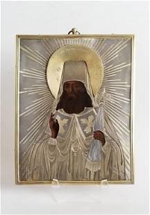 19C Russian Silver Icon 1862
