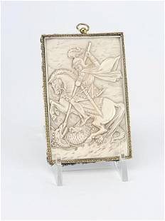 Antique Russian Carved Icon St.George