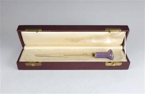 Antique Russian Silver Gold Enamel Paper Knife