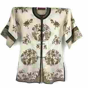 Antique Chinese Silk Gold Embroidered Robe