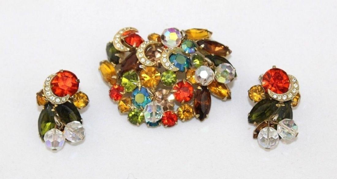 Vintage JULIANA Autumn Color Rhinestone Brooch Earrings