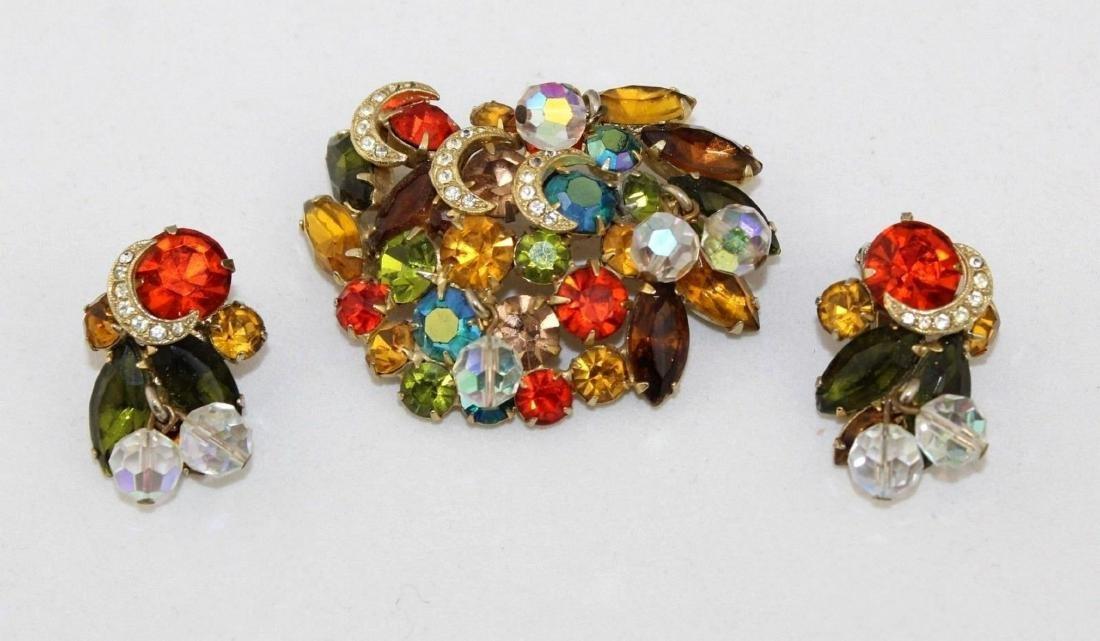 Vintage JULIANA Autumn Color Rhinestone Brooch Earrings - 2