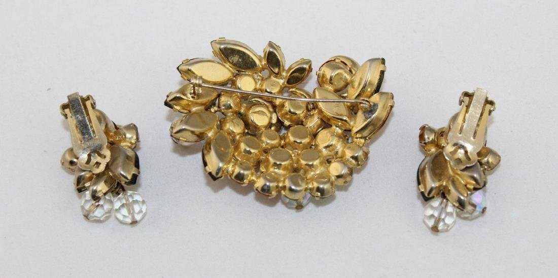 Vintage JULIANA Autumn Color Rhinestone Brooch Earrings - 3