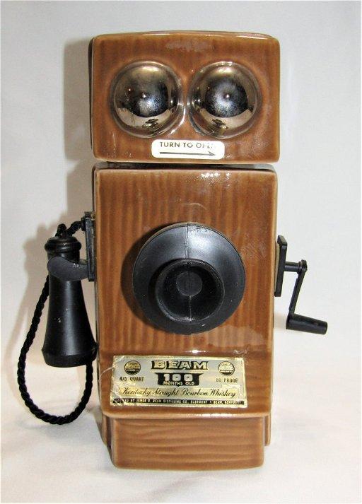 Vintage JIM BEAM Porcelain Magneto Telephone Decanter