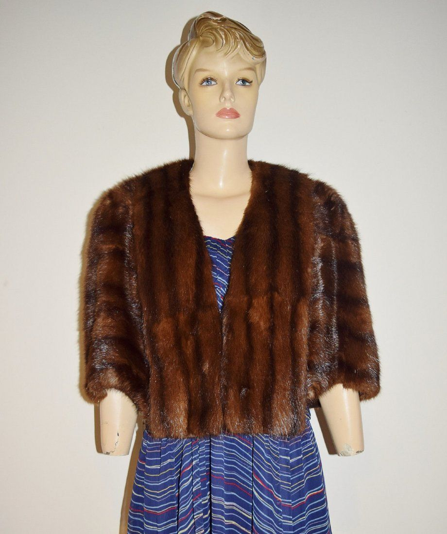 Vintage Miller & Rhoads Dark Brown Mink Fur Coat Cape