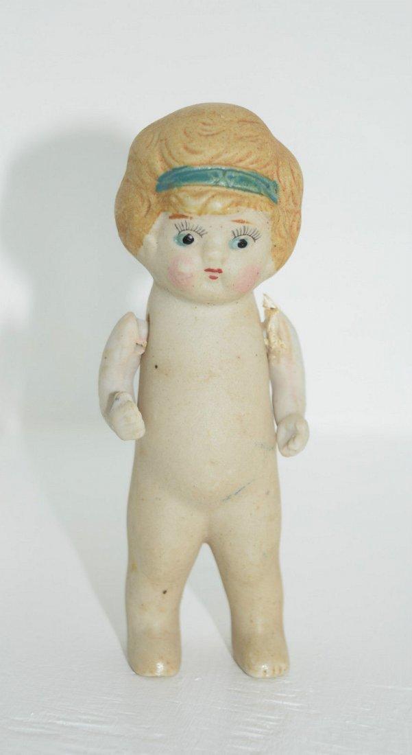 """Antique Kewpie Flapper 5"""" Frozen Charlotte Bisque Doll"""