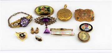 Antique Victorian Pin Bracelet Earrings  Locket Lot