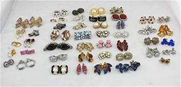 Vintage Costume Jewelry Rhinestone Earring Pairs
