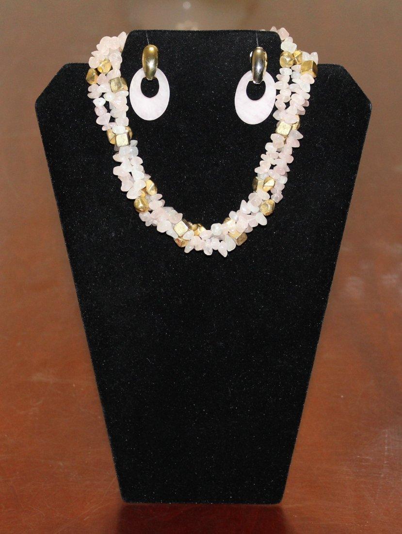 Triple Strand Pink Jade Chip Necklace & Jade Earrings