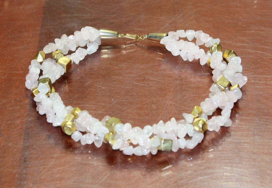 Triple Strand Pink Jade Chip Necklace & Jade Earrings - 2