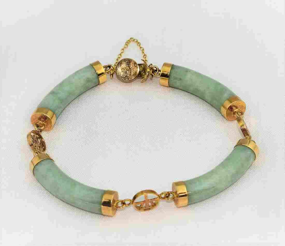 Natural Green Jade 14K Yellow Gold Bracelet